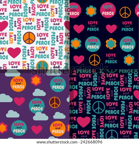 set of love and peace color background - stock vector