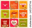 Set of Love and weeding label cards with flowers and hearts for retro invitations design. Old paper textures for vintage design. Vector illustration. - stock photo