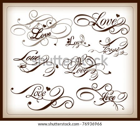 set of love calligraphy - stock vector