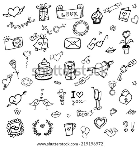 Set of love doodle icon set isolated on white, hand drawn vector illustration  - stock vector