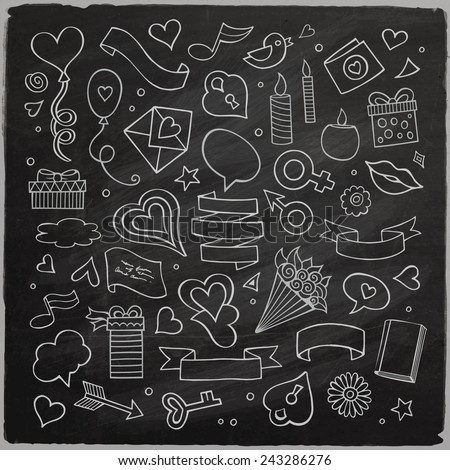 Set of love doodle icons vector chalkboard illustration isolated - stock vector