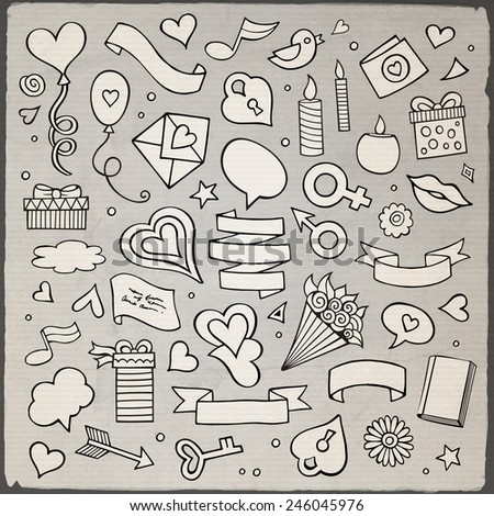 Set of love doodle icons vector illustration isolated - stock vector