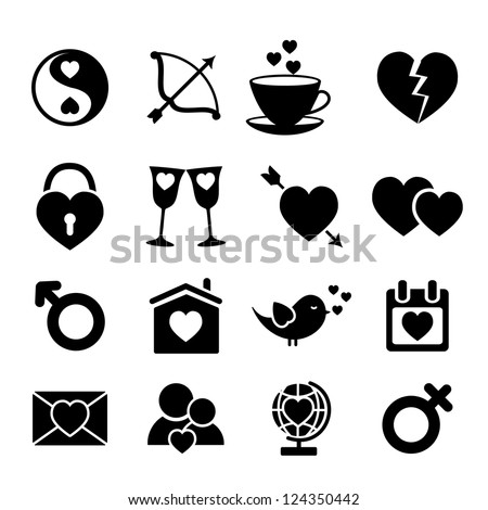Set of love icons. Vector illustration. - stock vector
