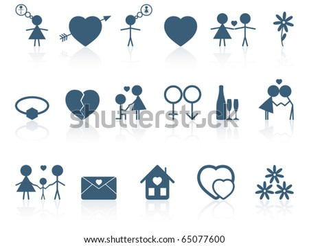 Set of love icons. Vector illustration.