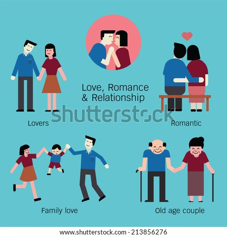 Set of love, lovers, couple, and romantic time periods. Cartoon character set, trendy flat and simple design.  - stock vector