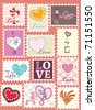 set of love stamps - stock vector
