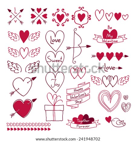 Set of love symbols in hand drawn style. Design elements - hearts, bow, arrow, ribbon and cupid wings. Valentine's day, wedding decoration. Good for invitation card.  - stock vector