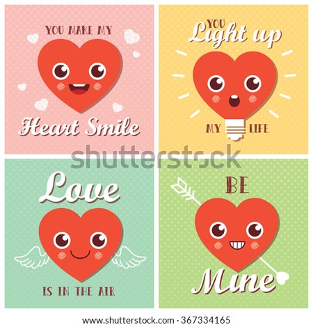Set love valentines day greeting cards stock vector 367334165 set of love valentines day greeting cards heart shape with different expressions cute m4hsunfo