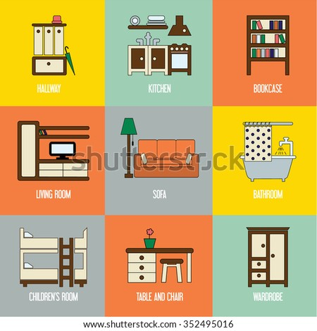 Set of lovely and colorful vector interior design room types icons in trendy flat design featuring living room, hallway, kitchen, bathroom, kids' room, bookcase, sofa, wardrobe, table and chair - stock vector