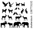 Set of lovely animal lovers couples silhouette: deers, owls, pigeons, elephants, moose, roes, hares, birds, cats, dogs. - stock vector