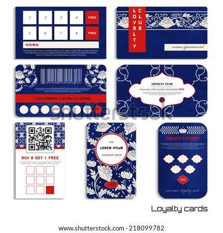 Set of loyalty cards.Beautiful flowers and blue watercolor background. Hand drawing. Imitation of chinese porcelain painting. Realistic shadows. Place for your text. - stock vector