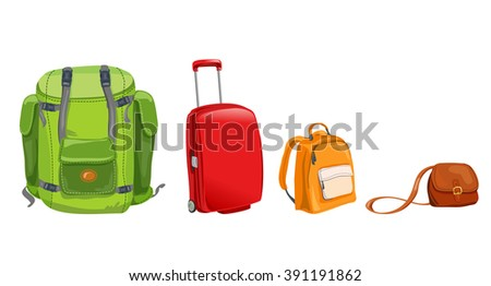 set of luggage for travel. vector illustration