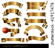 set of 10 luxurious golden banners/scrolls - stock vector