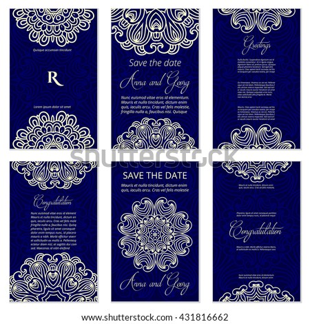 Set of Luxury artistic pages set with logo brochure template. Vintage art identity, lace, card, magazine. Traditional, indian. Decorative retro greeting card or invitation design - stock vector