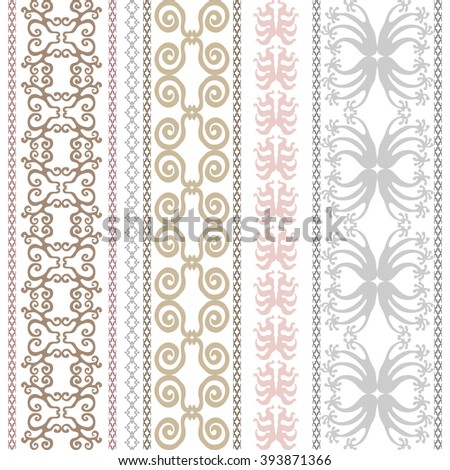 Set of luxury bohemian borders. Hand drawn scrolls, geometric ornaments, damask patterns, floral prints, art deco and oriental motifs. Vintage textile collection. Golden, silver shadows on white. - stock vector