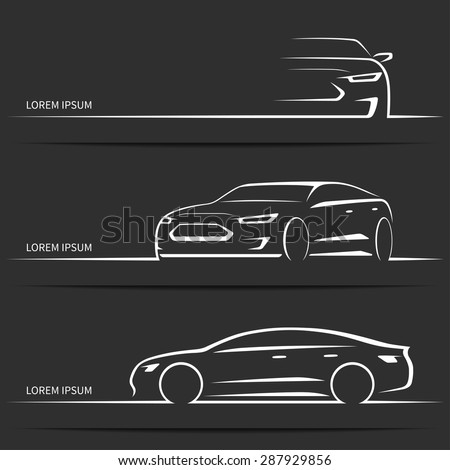 Set of luxury car silhouettes. Modern sports sedan. White linear vector illustration isolated on dark background.  - stock vector