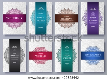 Set of Luxury colors artistic pages set with logo brochure template. Vintage art identity, floral, magazine. Traditional, Islam, Arabic, Indian. Decorative retro greeting card or invitation design - stock vector