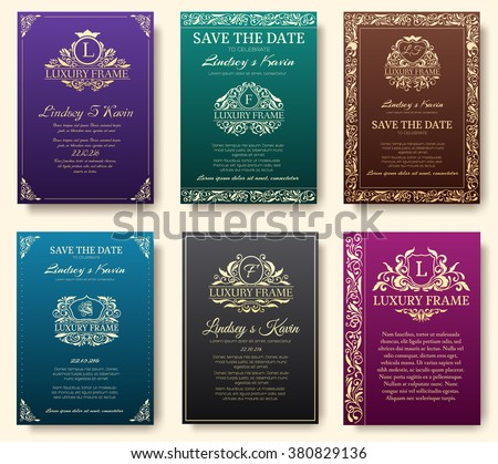 Set of luxury flyer pages set with logo ornament illustration concept. Vintage art traditional, Islam, arabic, indian, elements. Vector decorative retro greeting card or invitation design. - stock vector