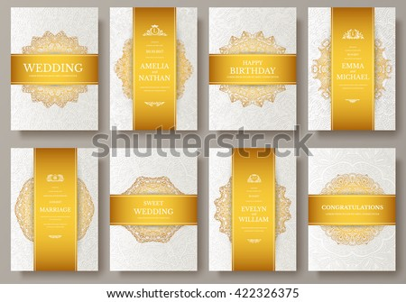 Set Luxury Gold Artistic Pages Set Stock Vector