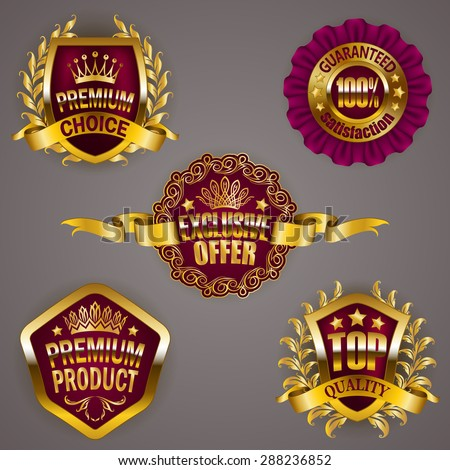 Set of luxury gold badges with crown, ribbon. Exclusive offer, premium product, 100 % top quality guaranteed. Promotion emblems, icons, labels, medal, blazons for web, page design. Illustration EPS 10 - stock vector