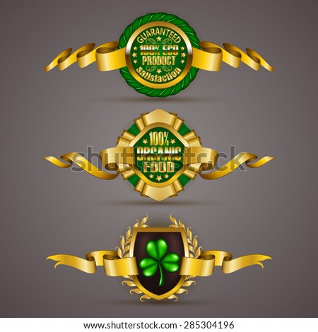 Set of luxury gold badges with floral elements, stars, laurel wreath. 100 % pure organic, bio, natural product. Eco emblem, icon, logo, label, medal, sticker for web, page design. Illustration EPS 10. - stock vector