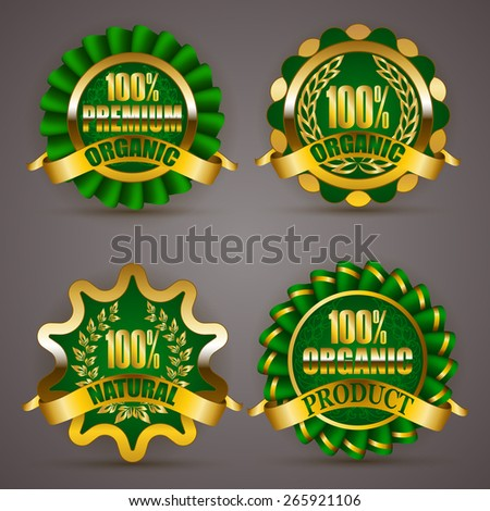 Set of luxury gold badges with floral laurel wreath, ribbon. 100 % quality natural product, premium bio organic. Eco emblem, icon, logo, label, medal, sticker for web, page design. Illustration EPS 10 - stock vector