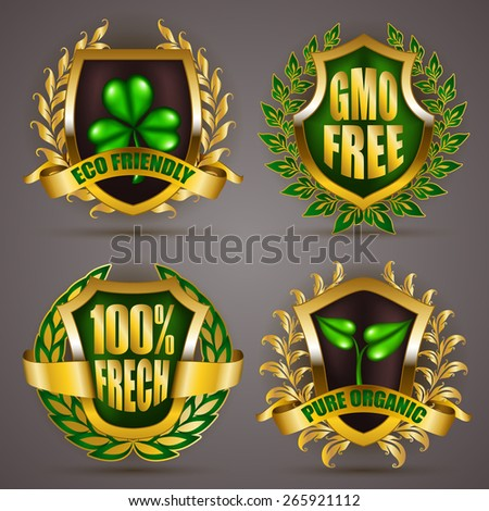 Set of luxury gold badges with floral laurel wreath, ribbons. 100 % fresh, gmo free, eco friendly, pure organic. Bio emblem, icon, logo, label, medal, sticker for web, page design. Illustration EPS 10 - stock vector