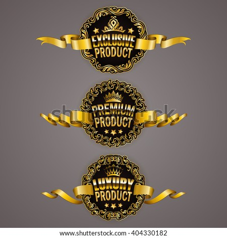 Set of luxury gold badges with ornate borders, stars, crowns, ribbons. Exclusive, premium, luxury product. Promotion emblems, icons, labels, medal for web, page design. Illustration EPS10 - stock vector