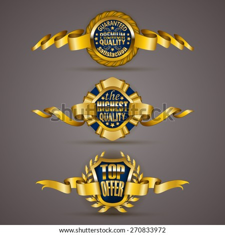 Set of luxury gold badges with stars, laurel wreath, ribbons. Top offer, 100 % highest quality guaranteed. Promotion emblems, icons, labels, medal, blazons for web, page design. Illustration EPS 10. - stock vector