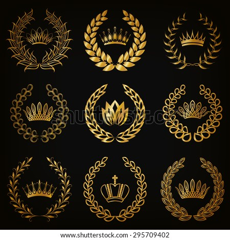 Set of luxury gold labels, emblem, medals, sign with laurel wreath, crown for retro design of diploma, award, logo, icon. Page, web decoration, royal symbol, sticker, badge. Vector illustration EPS 10 - stock vector