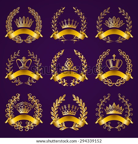 Set of luxury gold labels, emblems, medals, stickers, icons, monograms with laurel wreaths, filigree crowns, ribbons for page, web design. Royal heraldic elements in vintage style. Vector illustration - stock vector