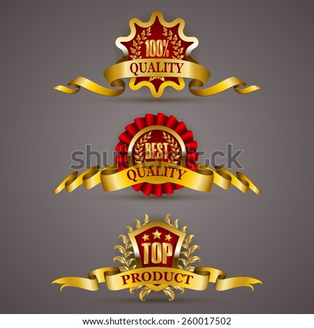 Set of luxury golden badges with laurel wreath, ribbons. 100 % quality, best, top product. Promotion emblems, icons, labels, medal, blazons for web, page design. Vector illustration EPS 10. - stock vector