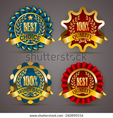 Set of luxury golden badges with laurel wreath, ribbons. 100 % quality, money back, best choice. Promotion emblems, icons, labels, medal, blazons for web, page design. Vector illustration EPS 10. - stock vector