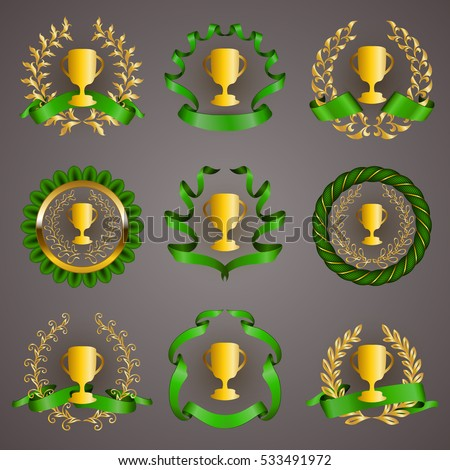 Set of luxury golden champion cups, medals, emblems with gold laurel wreaths, green ribbons for page, web design. Filigree elements, icons, signs in vintage style. Vector illustration EPS 10.