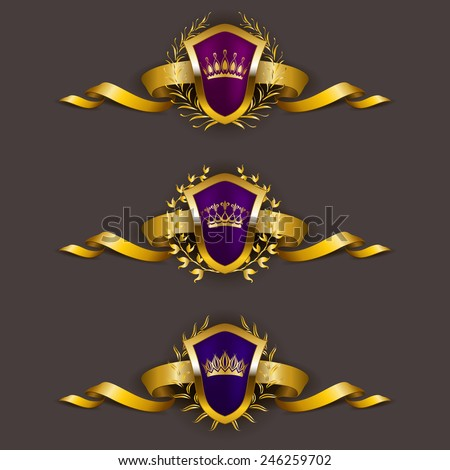 Set of luxury golden vector shields with laurel wreaths, crowns, ribbons. Royal heraldic emblem, icons, label, badge, blazon for web, page design. Vector illustration EPS 10. - stock vector