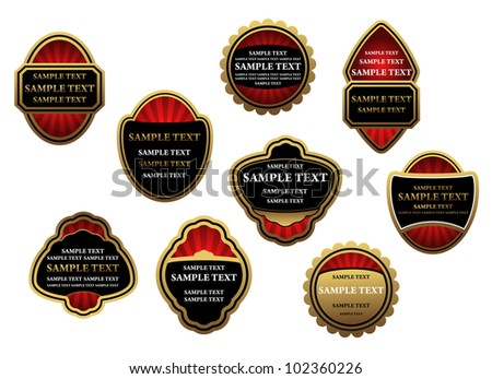 Set of luxury labels and banners with gold frames. Jpeg version also available in gallery - stock vector