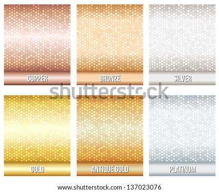 Set of luxury metallic backgrounds. Bronze, silver, gold, copper, platinum, antique gold. For discount, credit, gift cards or other design. - stock vector