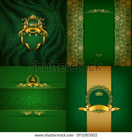 Set of luxury ornate backgrounds in vintage style. Elegant frame with floral elements, filigree ornament, gold crown, shield, ribbons, place for text on green drapery fabric. Vector illustration EPS10 - stock vector