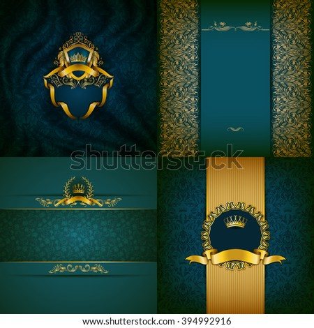 Set of luxury ornate backgrounds in vintage style. Elegant frame with floral elements, filigree ornament, gold crown, shield, ribbons, place for text on blue drapery fabric. Vector illustration EPS10 - stock vector