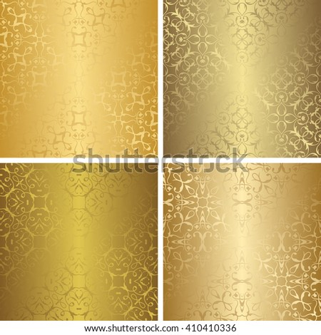 Set of luxury seamless patterns. Vintage design. Retro collection of golden   wallpaper