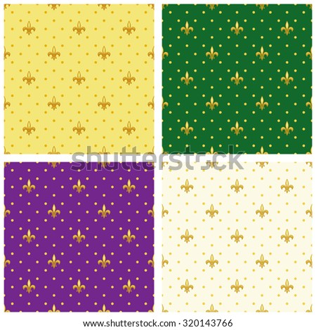 Set of luxury seamless patterns with vintage fleur de lis and polka dots background, ideal for curtains textile or bed linen fabric or interior wallpaper design etc - stock vector