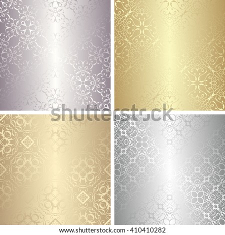 Set of luxury seamless wallpaper. Stylish design. Vintage collection of golden and silver wallpaper