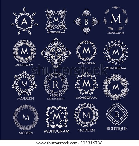 Set of luxury, simple and elegant  monogram designs. Good for labels and logos. Vector illustration. - stock vector