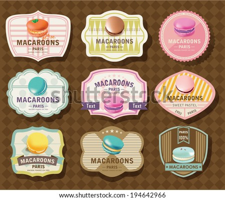 Set of Macaroon Labels - stock vector