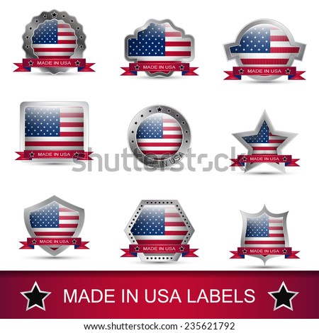 Set of made in USA labels or badges. Vector icons.  - stock vector