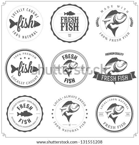 Set made fish stamps labels badges stock vector 131551208 for Fish symboled stamp