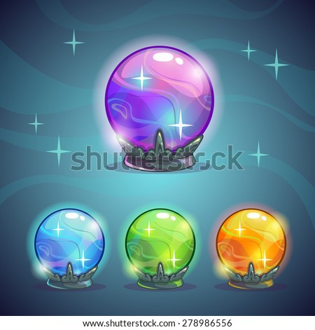 Set of magic crystal balls, fairy vector illustration - stock vector