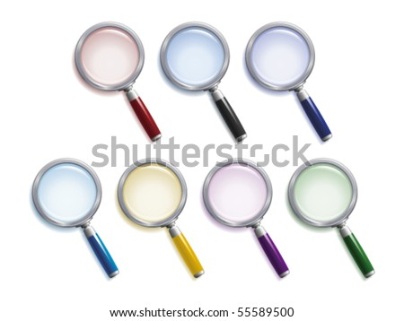 Set of  magnifying glasses with different colors of lenses, handles and shadows - stock vector