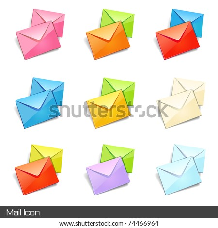 Set of mail icon on different color. Vector illustration.