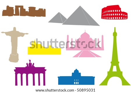 Set of main world monuments. - stock vector